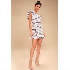 425593a4f4 ... NWT NWOT C MEO On Her Own Striped One-Shoulder Dress ...